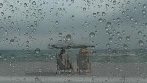 beach - rain